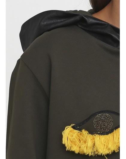 Свитшот с кожаным капюшоном Roberta Biage