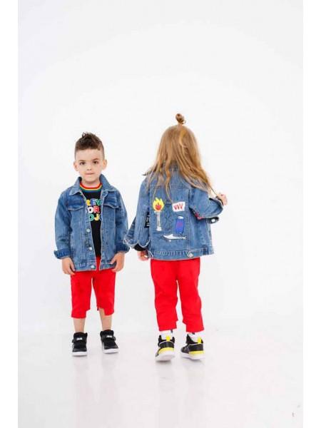 Пиджак джинсовый с принтами на спине JoJo