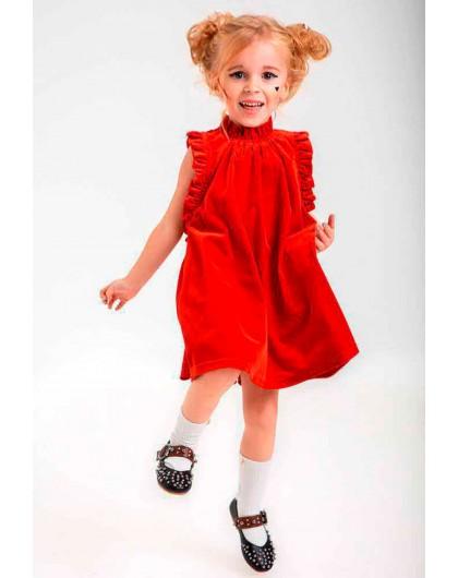 Платье велюровое с рюшами JO JO