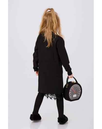 Платье теплое с разрезом и кружевным подъюбником JO JO