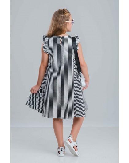 Платье полосатое с рюшами JOJO