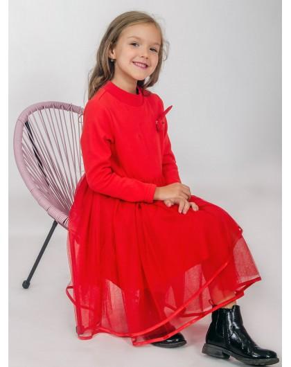 Платье теплое с фатиновой юбкой и зайчиком на груди JO JO