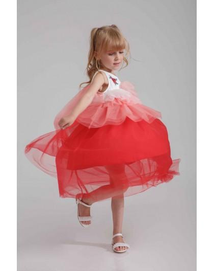 Платье c красными розами и фатиновой юбкой JOJO