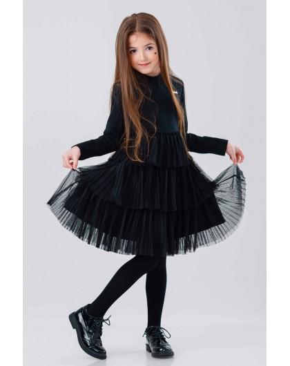 Платье с фатином и металлической эмблемой JO JO