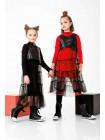Платье двойка: с фатиновой юбкой и жилеткой из экокожи JO JO