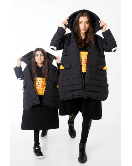 Модная туника JO JO с капюшоном и брендовым принтом