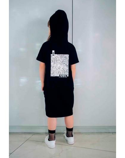 Туника с капюшоном на спине и принтом - квадрат JO JO