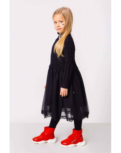 Платье теплое с высоким воротником и фатином с кружевами JO JO
