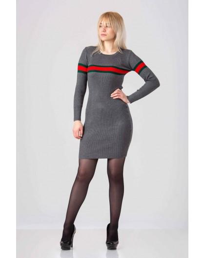 Платье стрейчевое с красно-зеленой полоской Италия  Gufo