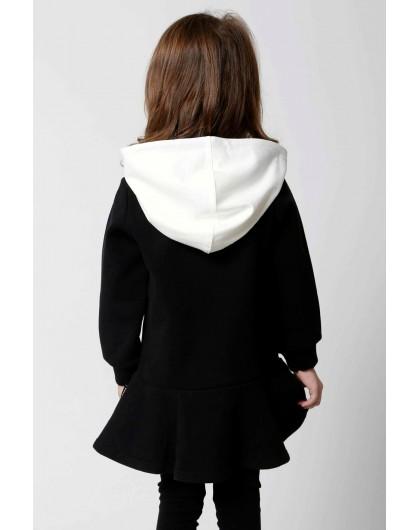 Платье теплое с капюшоном и нашивкой на груди JO JO
