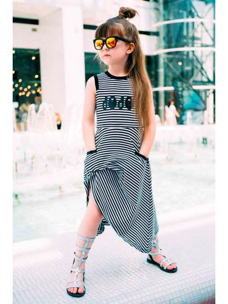 Платье в черно-белую полоску JO JO