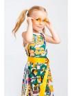 Платье в сеточку с ярким принтом и надписи JOJO