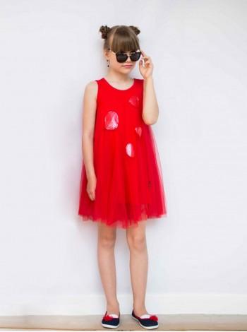 Платье фатиновое с круглыми лаковыми нашивками JO JO