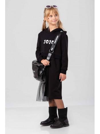Платье с капюшоном и фатиновой вставкой JO JO