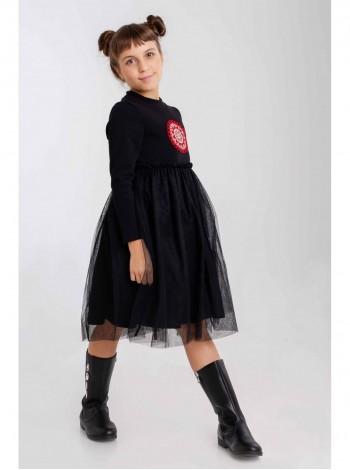 Платье теплое с вышивкой и юбкой из фатина JO JO