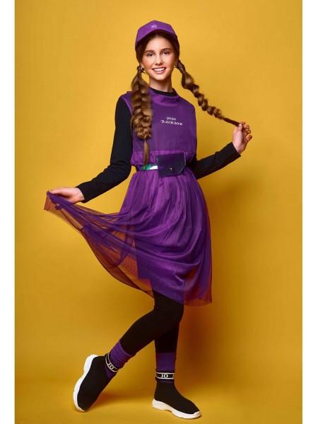 Платье трикотажное с фатиновым сарафаном JO JO