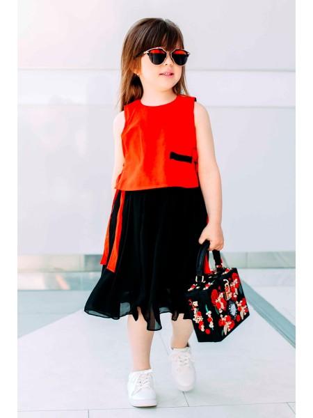 Платье юбка черный шифон верх красный лен JO JO