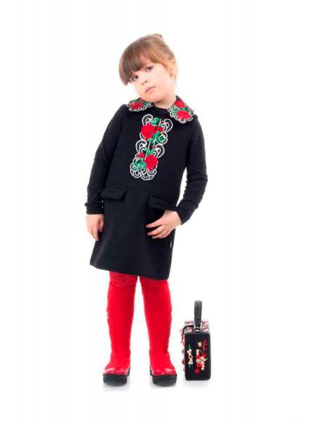 Платье твидовое с вышивкой Розы JO JO