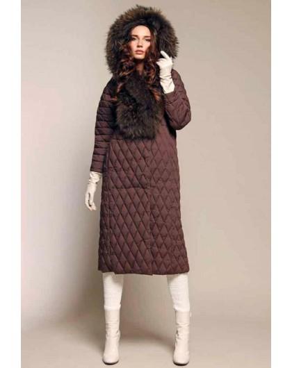 Пальто пуховое с капюшоном из натурального меха енота Италия NAUMI