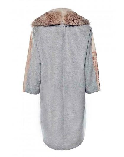 Пальто шерстяное с мехом из натурального сурка Martylò
