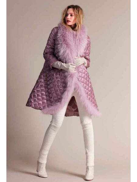 Пуховое пальто с натуральным мехом енота Италия NAUMI