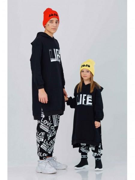 Туника с капюшоном и принтом LIFE JO JO