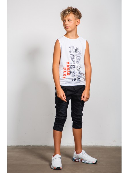 Бриджи джинсовые с сетчатыми карманами JO JO