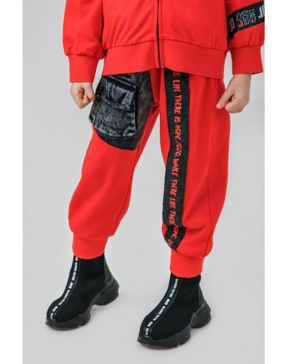 Штаны теплые с джинсовыми вставками JO JO
