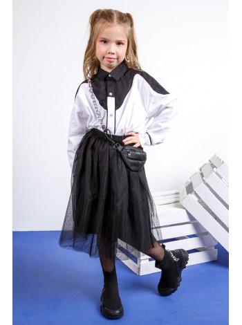 Рубашка хлопковая черно-белая JO JO