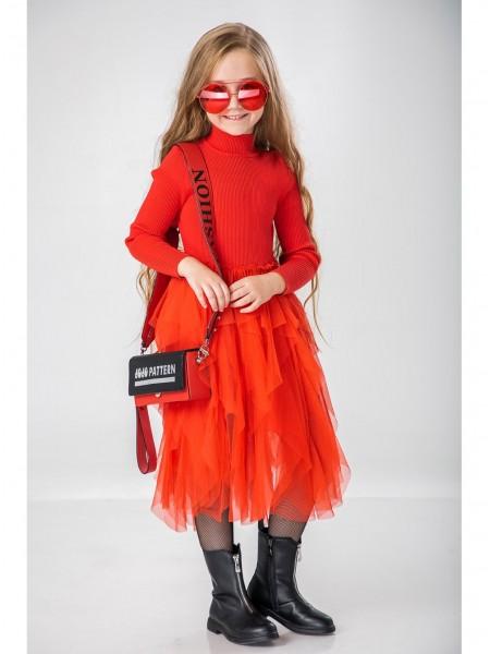 Платье теплое с фатиновой юбкой JO JO