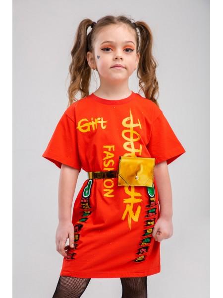 Платье - туника с брендовым принтом JOJO