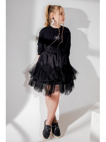 Платье с рюшами и фатиновой юбкой JO JO