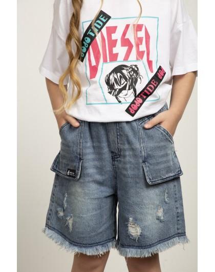 Шорты джинсовые с потёртостями JO JO