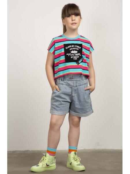 Шорты джинсовые с завышенной талией JO JO