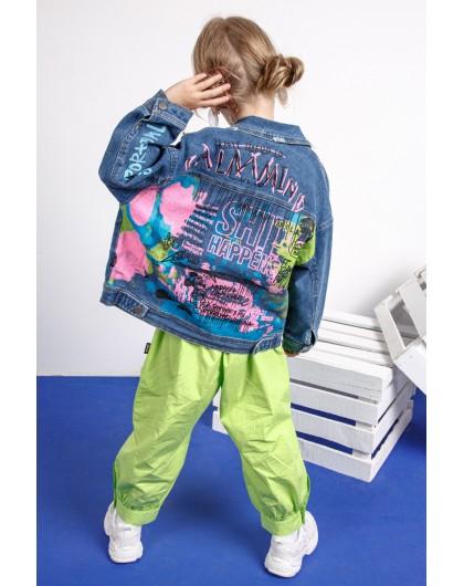 Жакет джинсовый с разноцветным принтом JoJo