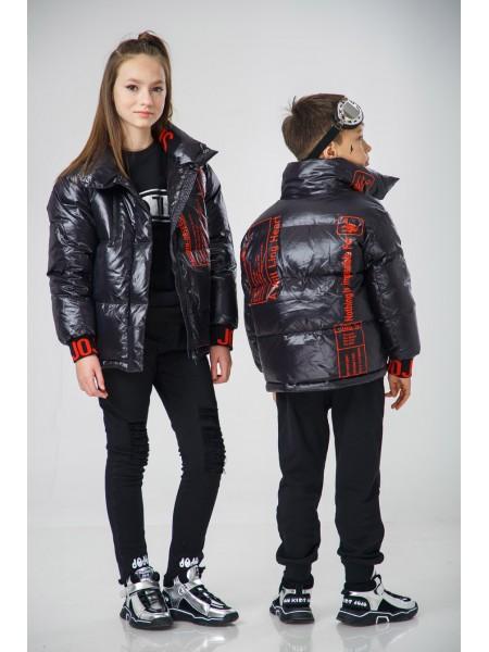 Пуховик-куртка с красными принтами JO JO
