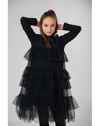 Платье миди с фатином в несколько ярусов JO JO