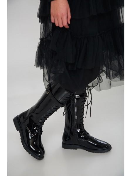 Сапоги лаковые на шнуровке JOJO