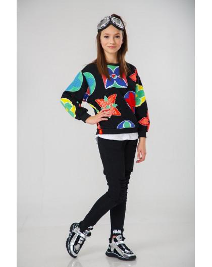 Джемпер с цветными вышивками Manan
