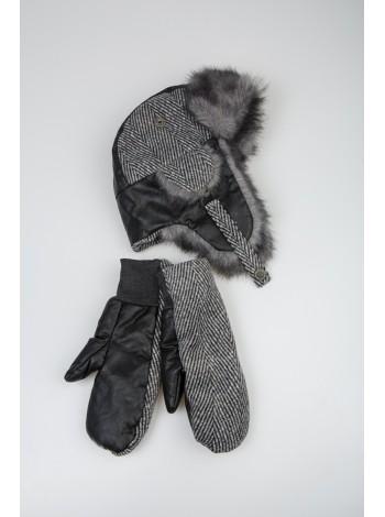Комплект из шапки-ушанки с варежками Gufo
