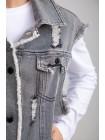 Жилет джинсовый с бахромой и потертостями JO JO