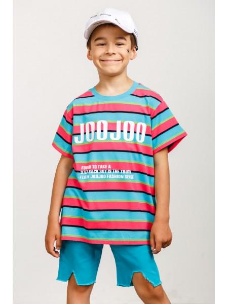 Футболка удлинённая в разноцветную полоску JO JO
