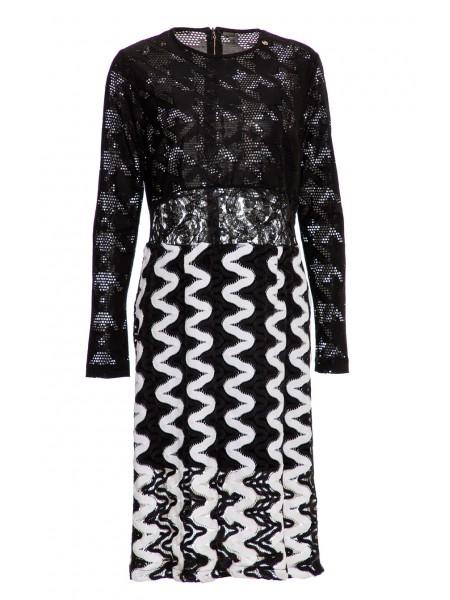 Платье с гипюром в черно-белой гамме Roberta Biagi