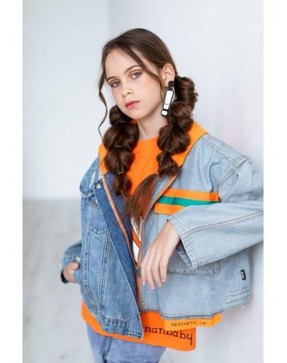 Жакет джинсовый с капюшоном JO JO