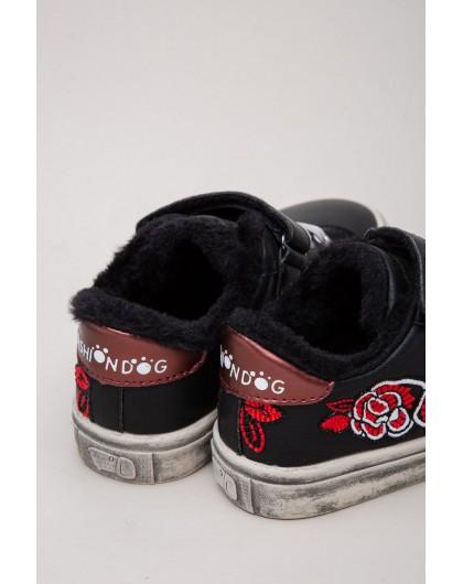 Кеды на меху с вышивкой «роза» Fashion Dog
