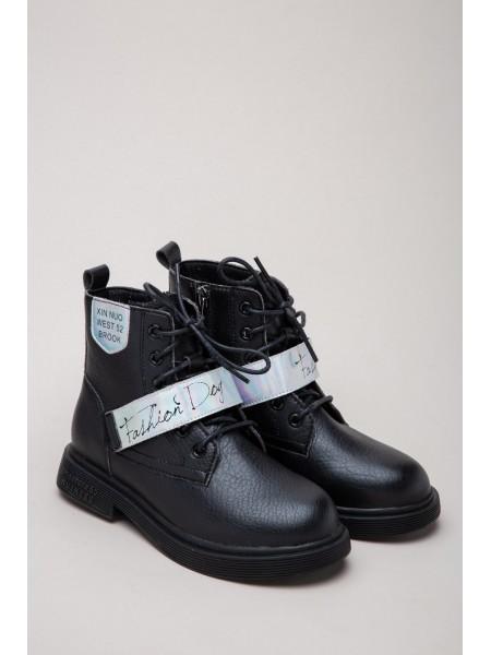 Ботинки кожаные с серебристой липучкой Fashion Dog