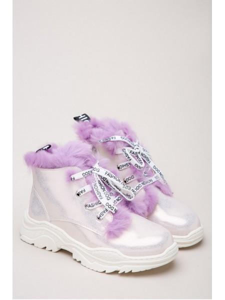 Ботинки блестящие с мехом Fashion Dog