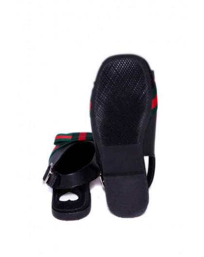 Босоножки с закрытым носком и цветной лентой JO JO