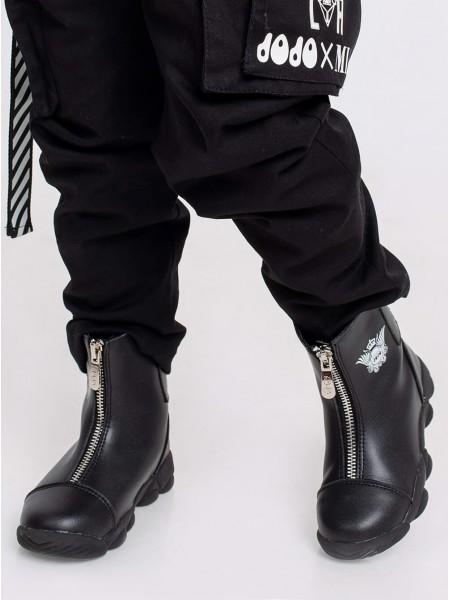 Ботинки кожаные с брендовым гербом JO JO