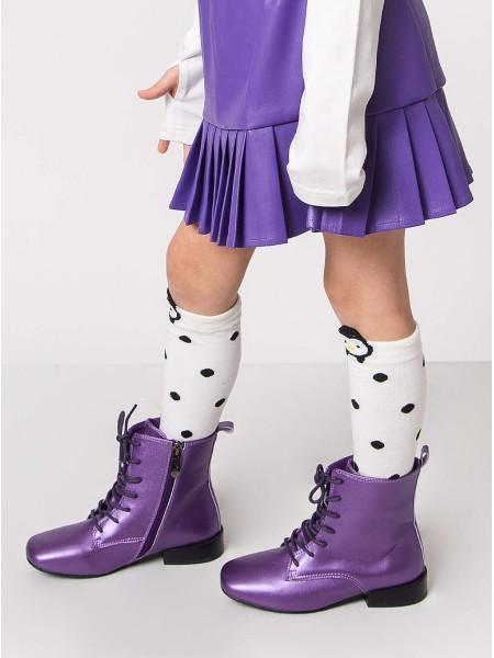 Ботинки кожаные на шнуровке, с боковой молнией  JO JO